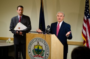 Vermont AG William Sorrell, right, said his office lacked the evidence needed to bring criminal charges against Vermont Yankee Officials. At left is Asst. Attorney Gen. John Treadwell. VTD/Josh Larkin
