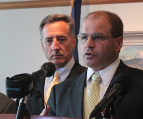 Lawrence Miller, Secretary of the Agency of Commerce and Community Development, speaks at a press conference with Governor Peter Shumlin. VTD Photo/Taylor Dobbs