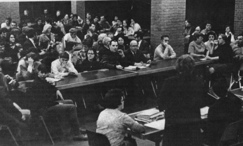 Local residents angrily confronted the school district board over decency at the high school, 1969.