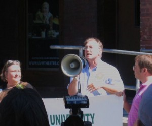 Sen. Philip Baruth speaks at a union rally for University of Vermont staff. Photo by Greg Guma