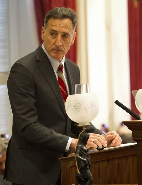 Gov. Peter Shumlin unveiled his budget on Thursday (01/24/13) to the General Assembly in Montpelier Vermont. Photo by Roger Crowley