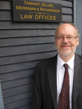 Attorney and writer Paul Gillies, here standing outside his office in Montpelier, has found a  niche with his lively, informative writing about Vermont's legal history and personas. Photo by Tom Slayton