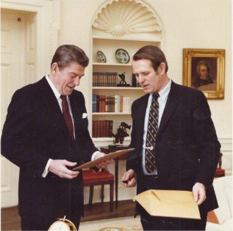 John McClaughry at the White House with President Ronald Reagan. Supplied photo