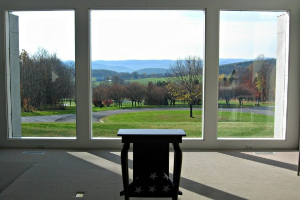 The view from the chapel at Vermont's Veterans Memorial Cemetery is a spectacular vista of green fields and blue mountains that makes stained glass superfluous. Photo by Nancy Graff.
