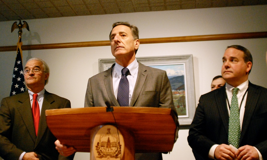 Vermont Attorney General Bill Sorrell (left), Gov. Peter Shumlin and Mike Twomey, vice president of external affairs for Entergy, announced an agreement to close Vermont Yankee in December. Photo by John Herrick/VTDigger