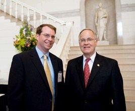 Jason Gibbs, left, with Gov. Jim Douglas