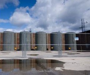The dry cask storage units outside of the Vermont Yankee plant. Photo by Laura Frohn, News21.org