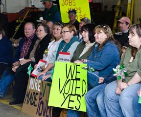 Kingdom Community Wind supporters at a rally held in Lowell. VTD/Josh Larkin