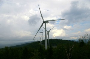 Twenty-one 450-foot-tall wind turbines run along the Lowell Mountains ridgeline for 4 miles. Photo by Andrew Stein/VTDigger