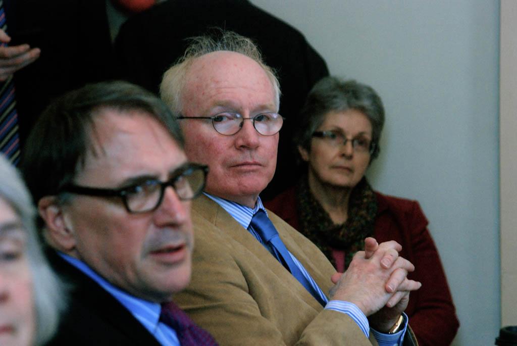 Sen. Kevin Mullin (center), R-Rutland, listens to testimony last week before the Senate Committee on Economic Development. Photo by John Herrick/VTDigger