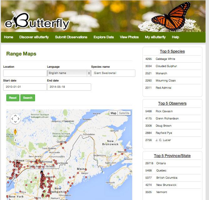 Screenshot of the e-Butterfly.org website.
