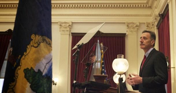 Gov. Peter Shumlin delivers his inaugural address Jan. 8, 2015. Photo by John Herrick/VTDigger
