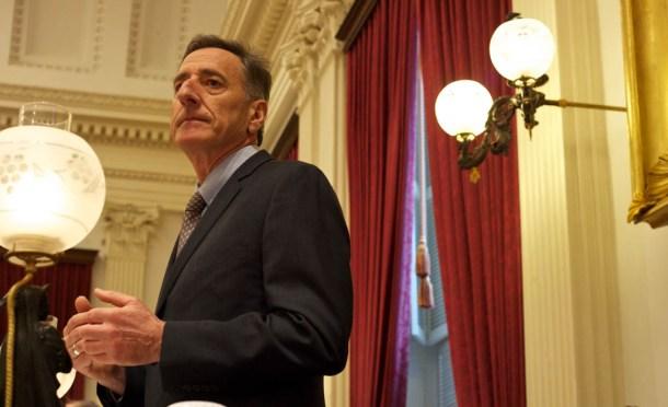 Gov. Peter Shumlin delivers his budget address at the Statehouse on Thursday, Jan. 15, 2015. Photo by John Herrick/VTDigger