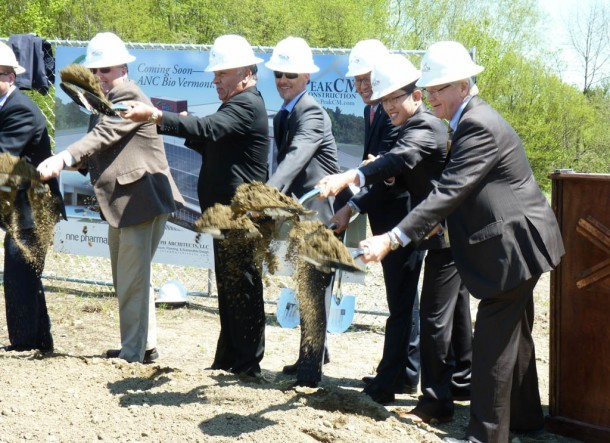 Dignitaries break ground on a proposed EB-5 project in Newport last month. No state officials attended the ceremony. Photo by Anne Galloway/VTDigger