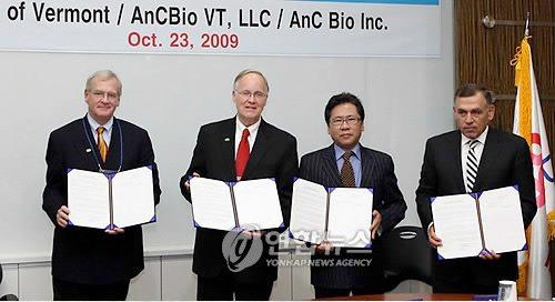 Bill Stenger, Jim Douglas, Alex Choi (owner of AncBio Korea), Ariel Qurios