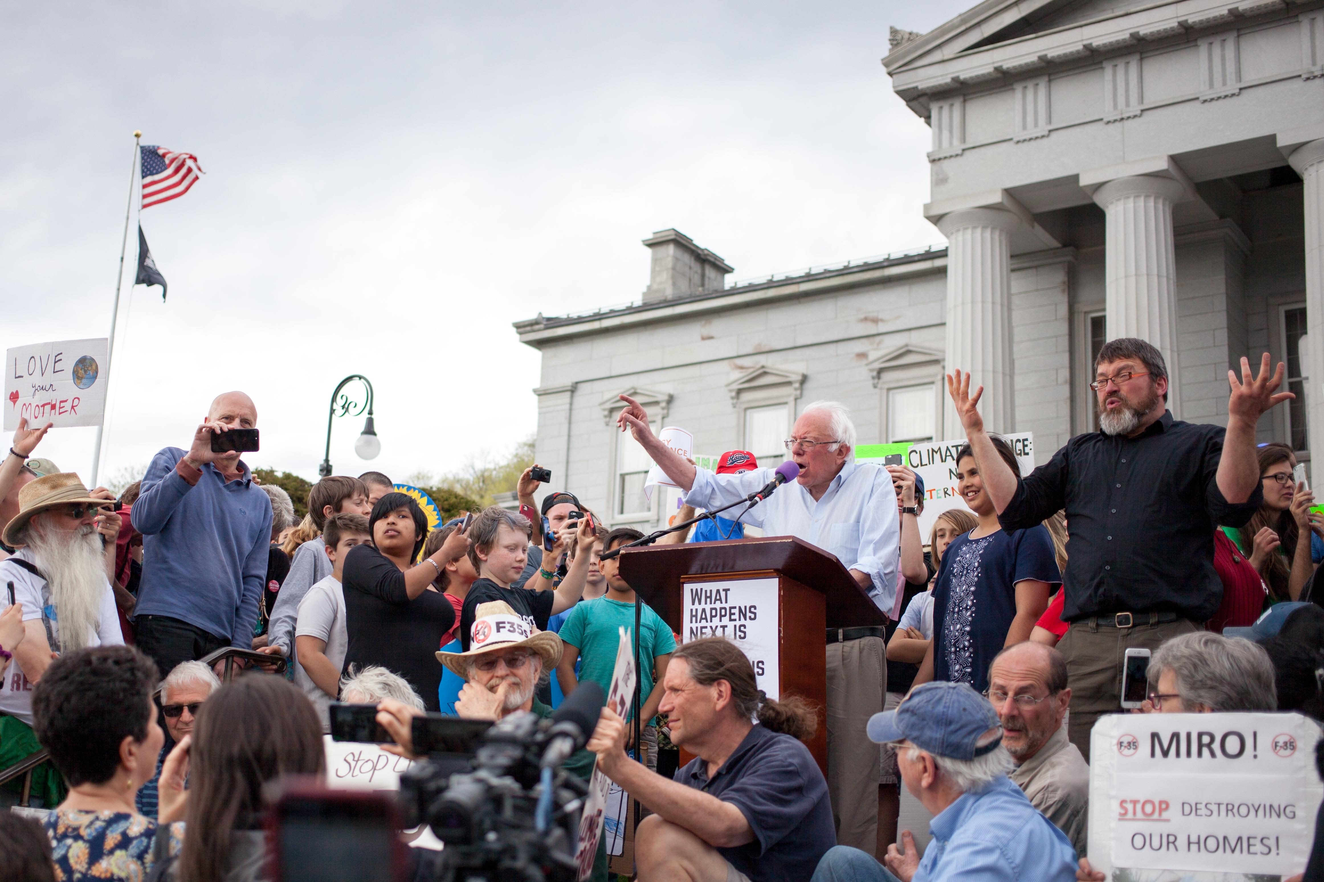 Bernie Sanders addresses climate march