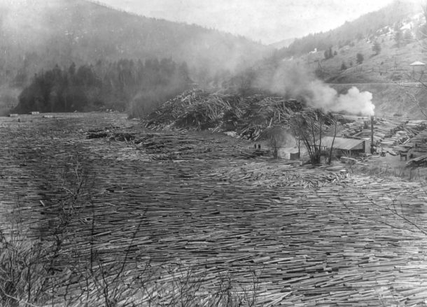 A log drive on the White River