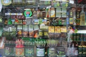 Marijuana edibles in a store window in Amsterdam