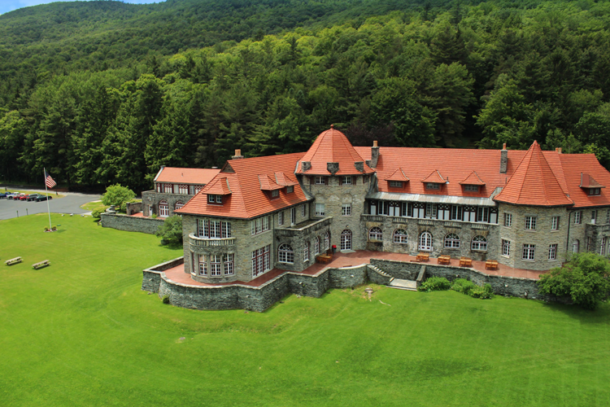 An aerial view of the Everett Mansion at Southern Vermont College