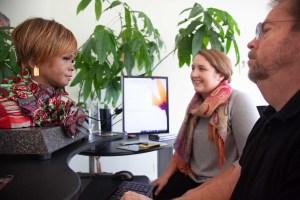 Grace Elletson interviewing robot
