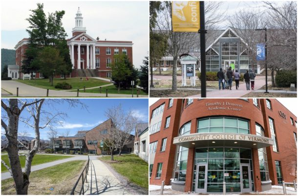Clockwise from top left: Castleton University, Vermont Technical College; Community College of Vermont; Northern Vermont University