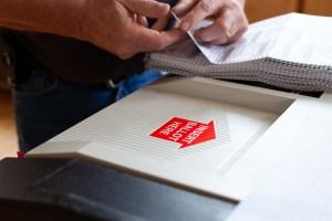 Insert ballot here slot on tabulating machine