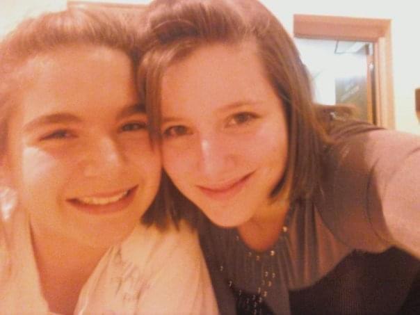 selfie of two girls in high school